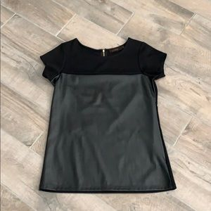 Black Faux Leather Top